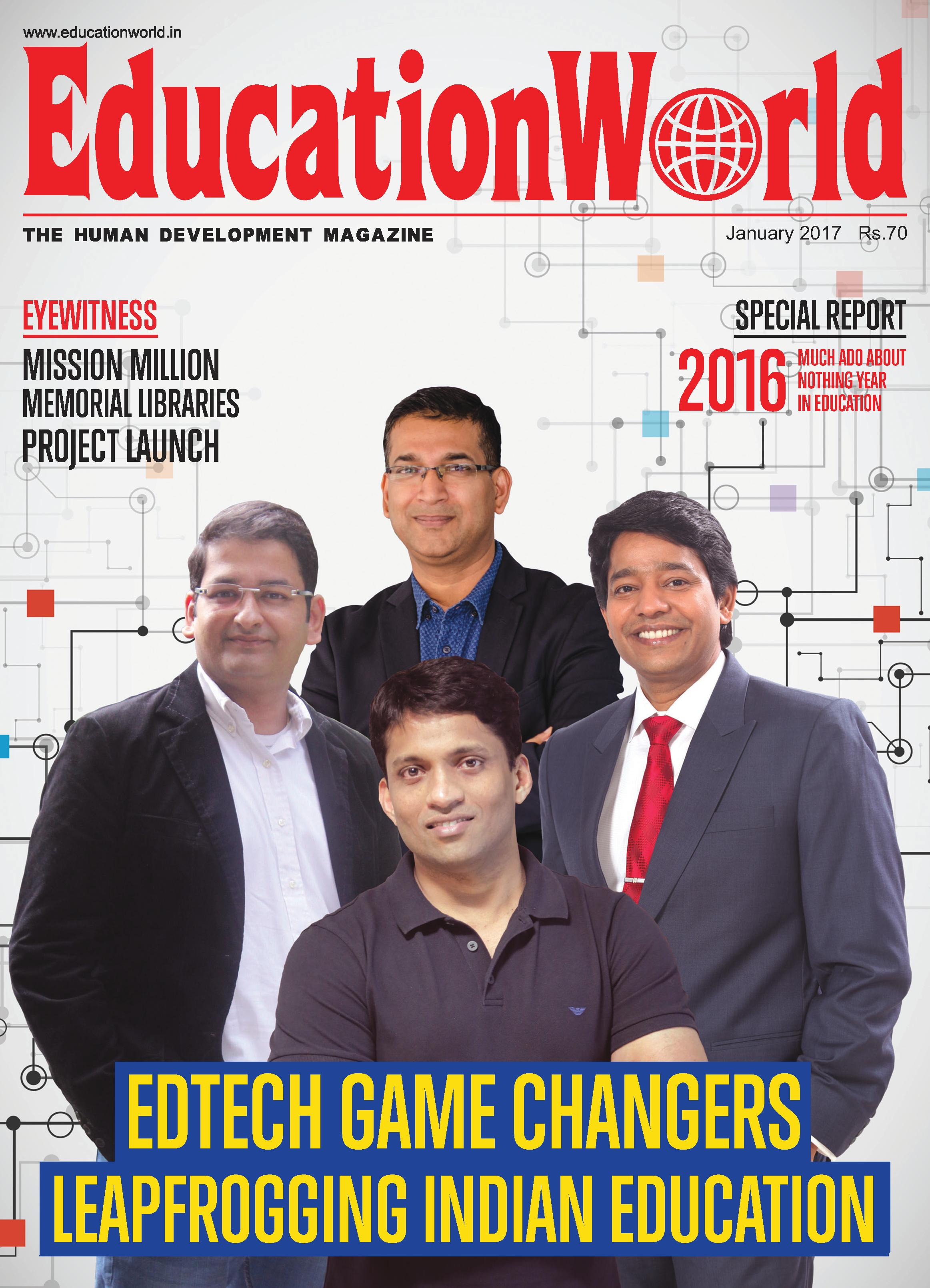 'Edtech Game Changers Leapfrogging Indian Education' featured in Education World Magazine