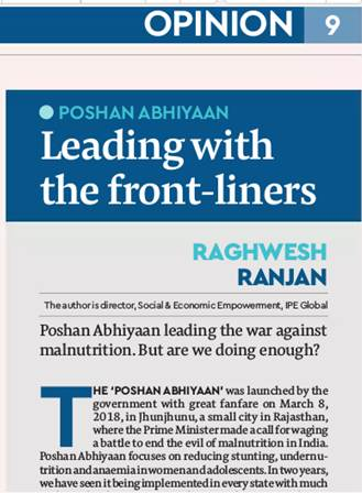 IPE Global's Poshan Abhiyaan gets exclusive coverage in The Financial Express