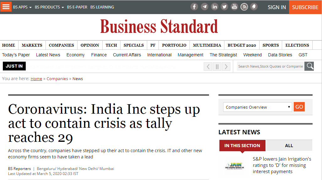 Featured in The Business Standard