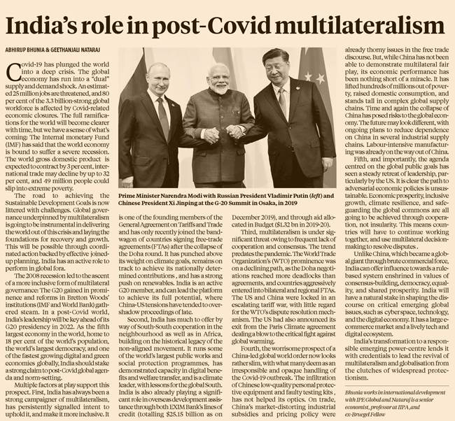 India's role in post-Covid multilateralism - Business Standard