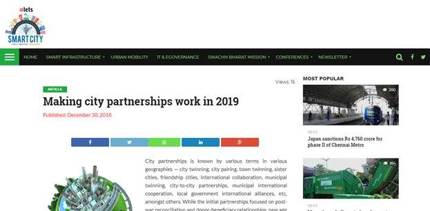 "Exclusive coverage of Anil Bansal & Ram Khandelwal in Elets Smart City Portal on article ""Making City Partnerships work"