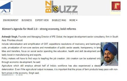 Ashwajit Singh, MD IPE Global features on Bizbuzz