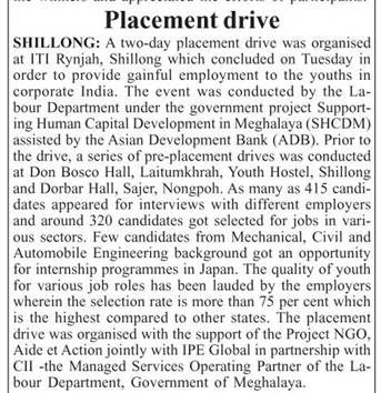 IPE Global's initiative on Meghalaya's Employment Drive gets exclusive coverage in Shillong Times