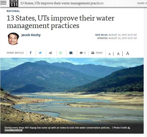 IPE Global gets coverage in The Hindu on Composite Water Management Index by the NITI Aayog