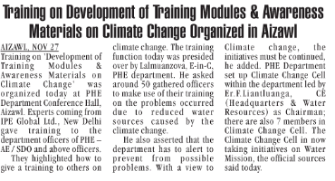 IPE Global gets exclusive mention in The Mizoram Post on the climate change training module
