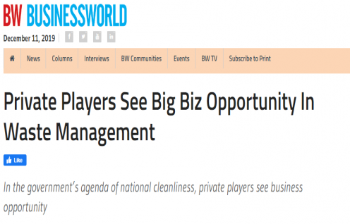 IPE Global gets exclusive mention in the BusinessWorld magazine on Waste Management
