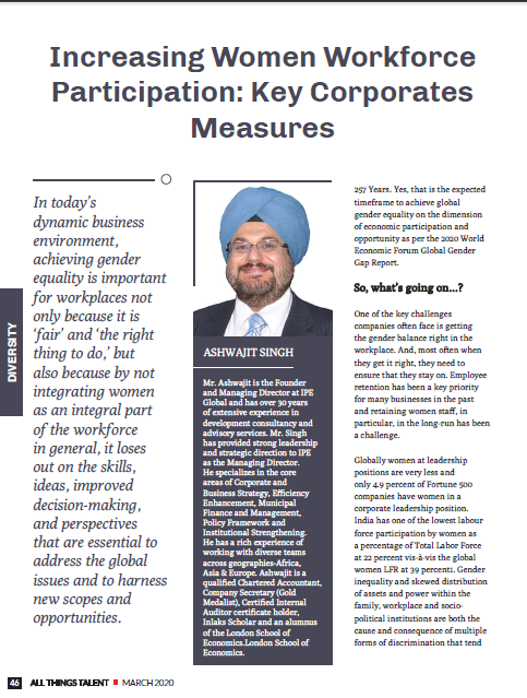Ashwajit Singh, MD IPE Global exclusively featured in Corporate & Women_All Things Talent Magazine