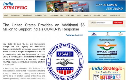 The United States Provides an Additional $3 Million to Support India's COVID-19 Response (India Strategic)