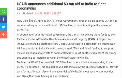 ANI features USAID's announcement to aid India with an additional $3 mn to fight coronavirus