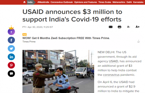 USAID announces $3 million to support India's Covid-19 efforts (Times of India)