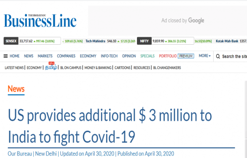 US provides additional $ 3 million to India to fight Covid-19 : Hindu Business Line