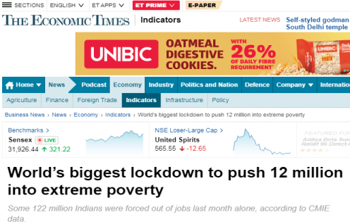"Ashwajit Singh, MD IPE Global shares his views with Bloomberg featured on Economic Times about ""Biggest lockdown to push 12 million into extreme poverty"""