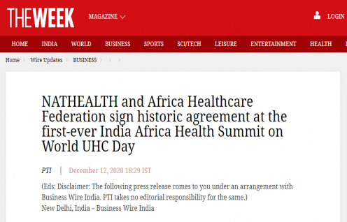 NATHEALTH and Africa Healthcare Federation sign historic agreement at the first-ever India Africa Health Summit on World UHC Day