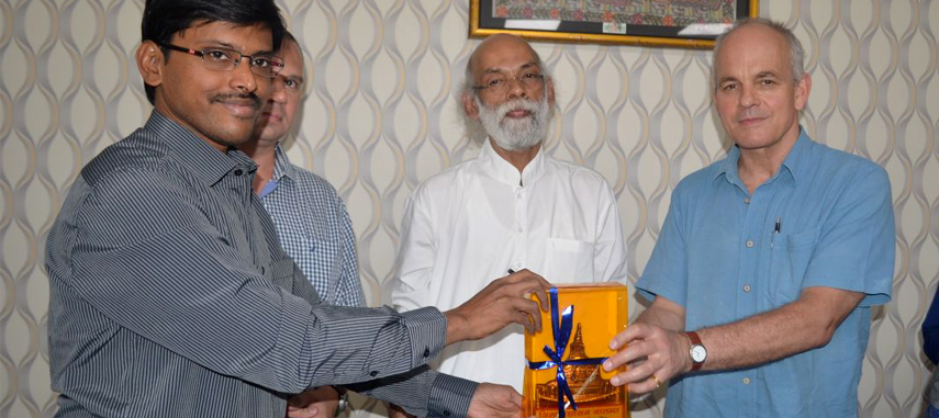 Thiyagarajan SM, I.A.S. District Magistrate and Collector Nalanda presenting a memento to Mr. Gavin McGillivray