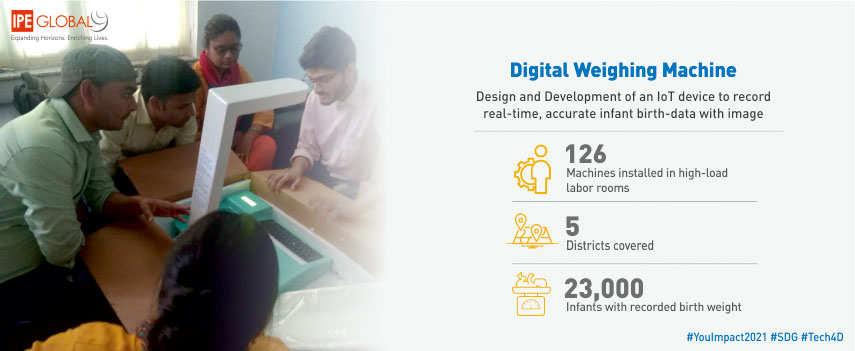 Digital weighing machine to record real-time, accurate infant birth-data with image